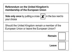Brexit ballot alternative polling card